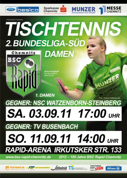 Plakat 1. + 2. Heimspiel der 2. Bundesliga Süd der Damen 2011/2012